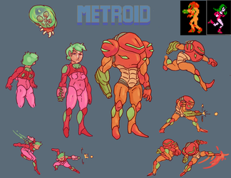 Metroid Redesign Sheet for Samus I guess by Minimancom