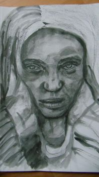 homeless girl charcoal,  Water Soluble pencils by mrhectormex