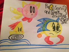 Pac-Sonic, Tails Kirby and Starfy the Echidna-fish by SuperStarfy2002