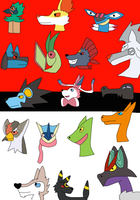 My Favourite Pokemon of each type by FlameNelson