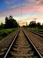 Railroad sunset by JaneXxX