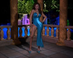 Sexy Blue Gown Outdoor by 007Fanatic