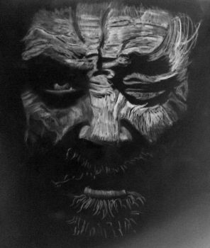 negative drawing -old man face by klemenjero