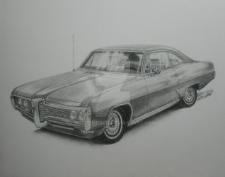 1968 Pontiac Catalina, Pencil drawing by nethompson