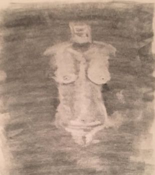 Nude Female Charcoal Rub-Out Drawing  by Nathan-Brice-Art