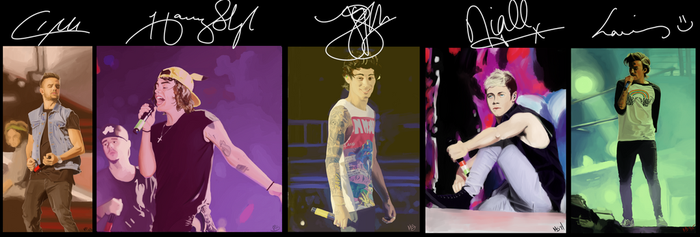 One Direction paintings together by invisibleheros