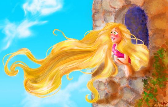 Rapunzel looking out her window by Salma-H