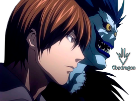 Light Yagami and Ryuk - Death Note - Render by Obedragon