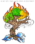 Four Elements Four Seasons Color Tree Design by WildSpiritWolf