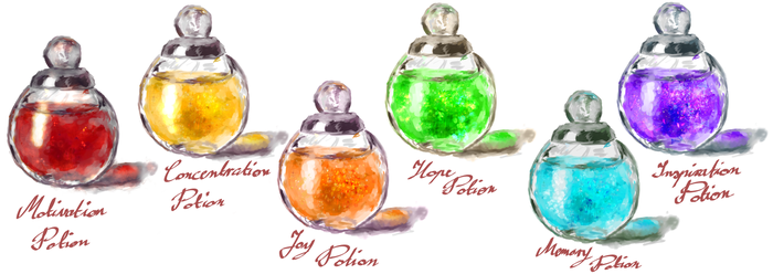 My set of Potions by Lola-in-the-Black