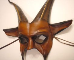 Leather Goat Mask in browns by teonova