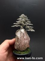 Ken To root-over-rock wire bonsai tree sculpture by KenToArt