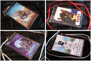 Commissions: Double-Side Con-Badges part 1 by SaQe