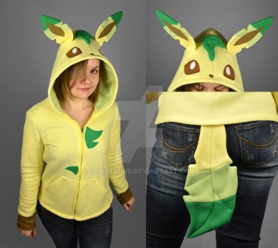 Leafeon Hoodie by SewDesuNe