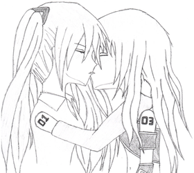 Hatsune Miku and Megurine Luka kissing by NewbMangaDrawer