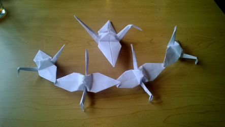 Origami 'Cascade of Cranes' by taerkitty