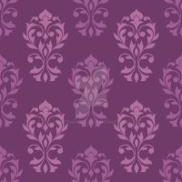 Heart Damask Pattern Plum Color Mix by NatPaskell