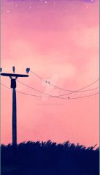Power line sunset by SketchedFoxx