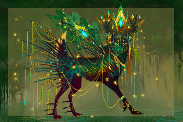 Stained Glass Forest QuillDog Deity by MischievousRaven