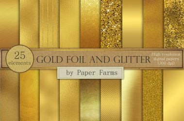 Gold foil and glitter by GraphicAssets