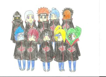Chibi Akatsuki: Colored by yokosprincess