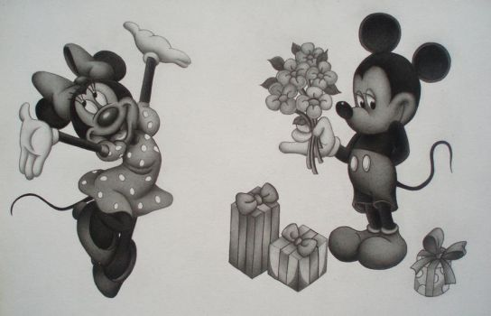 Mickey Mouse and Minnie Mouse by MartijnPipoo
