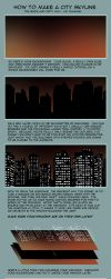 City Skyline at Night Tutorial by IntroducingEmy