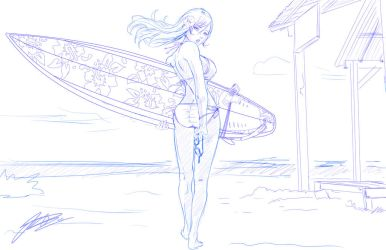 Surfergirl #3 - Sketch by jadeedge