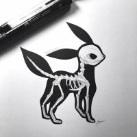 Skeletal Umbreon by WolfJayden