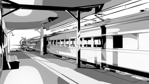 3d Train at Station 2 -Ink Toon Render by JWraith