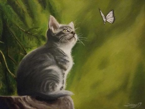Kitten Oil Painting by SARGY001