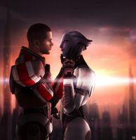 Mass Effect - Liara and Male Shepard by ToxicQuinn