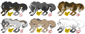 Wolf Adoptables 15- all adopte by WolfAdoptionClub