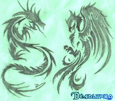 Tribal Dragon and Phoenix by Deadlypro