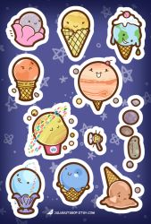 Ice Cream Planet Stickers by orinocou