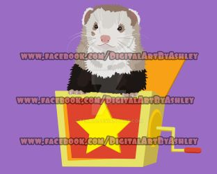 Ferret in a Jack in the box by Fennic