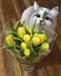 Cat with yellow tulips by 1NFIN1TY