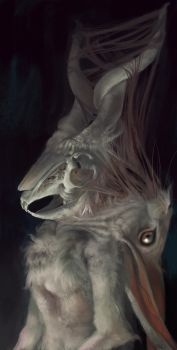 the rabbit with the horns by Grobelski