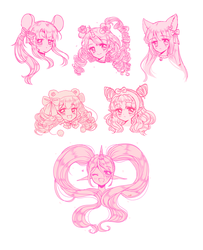 [COMM] Shoujo-Style Sketch Batch by neyokko