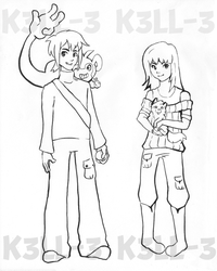 Pokemon Trainers - Tek and Mya! by doodle-plaid