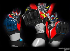 Triple Mazinger Attack by blackdove77