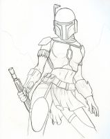 Mando Pinup 1 Lineart by BrokenRapture781