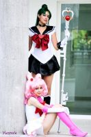 Sailor Pluto and Sailor Chibimoon by Yunnale