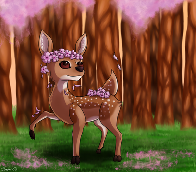 Flowery Fawn by Panda-Paradise