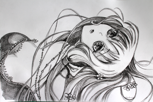 Anime Girl II - Charcoal Drawing [By Frederica] by Yersinia88