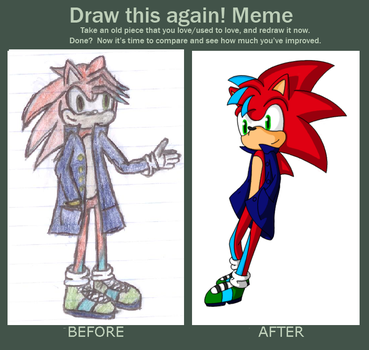 Before and After Meme - Cole the Hedgehog by Sockmonkey145