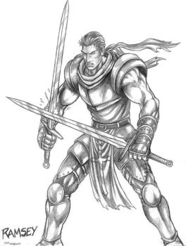 Ramsey (Warriors of Chaos) Line Art by SoulStryder210