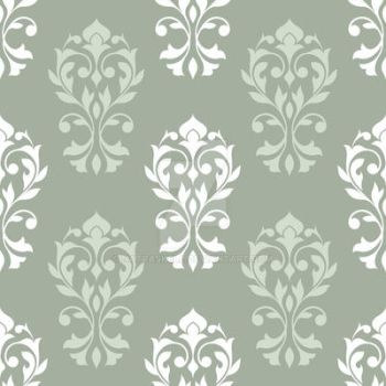 Heart Damask Pattern White and Green Mix by NatPaskell