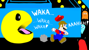 Mario being chased by Pacman by DarkwingFan