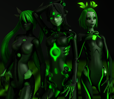 [MMD] Black-green sisters by Redoxygene